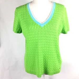 Tommy Hilfiger Sweater XL Green Cable Short Sleeve